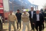 حضور استاندار در حادثه آتش سوزی کارخانه جهان ماکارون